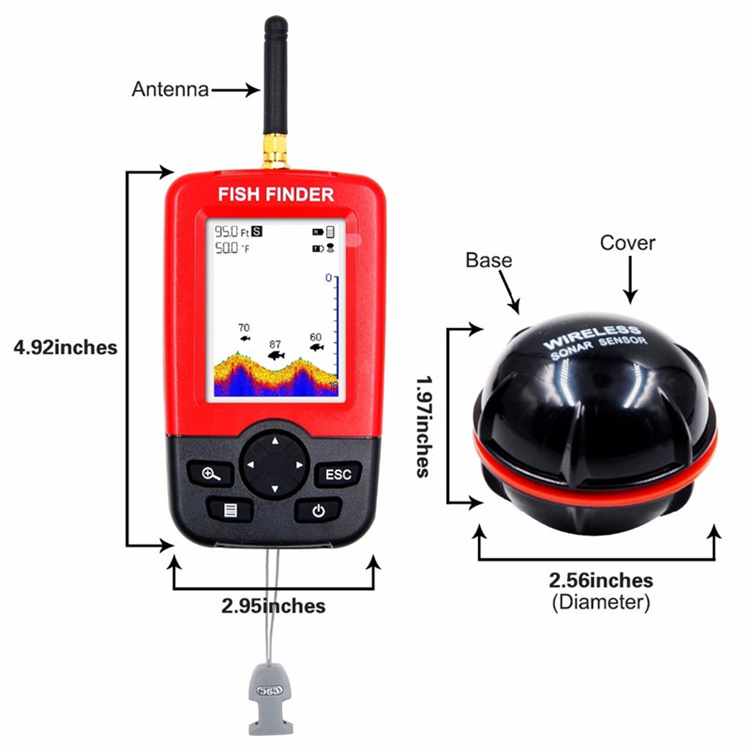 High quality lcd fish finders alarm100m portable sonar echo sounder fishing finder