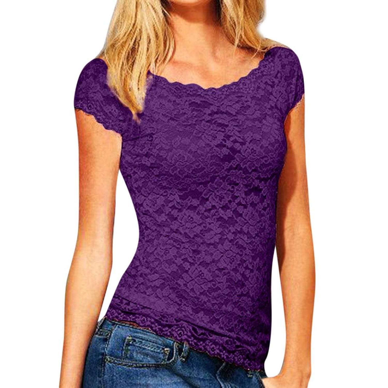 Women's Floral Slim Lace Croceht Casual Short Sleeve Blouse Top T-Shirt