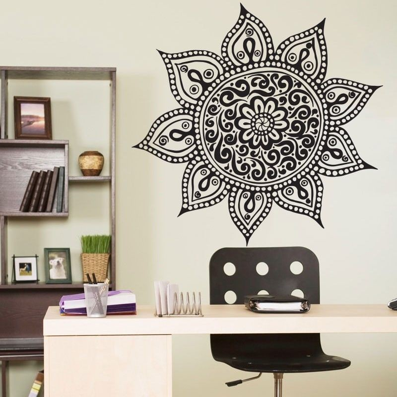 Free Shipping Wall Decal Vinyl Wall Sticker Home Decoration Namaste Om Mandala Ornament Moroccan Pattern Yoga