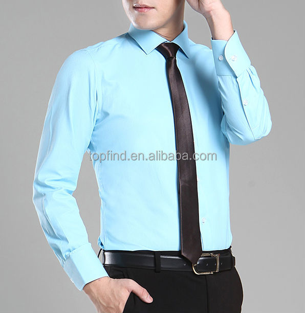Cheap Mens Slim Fit Dress Long Sleeve Solid Color Shirts