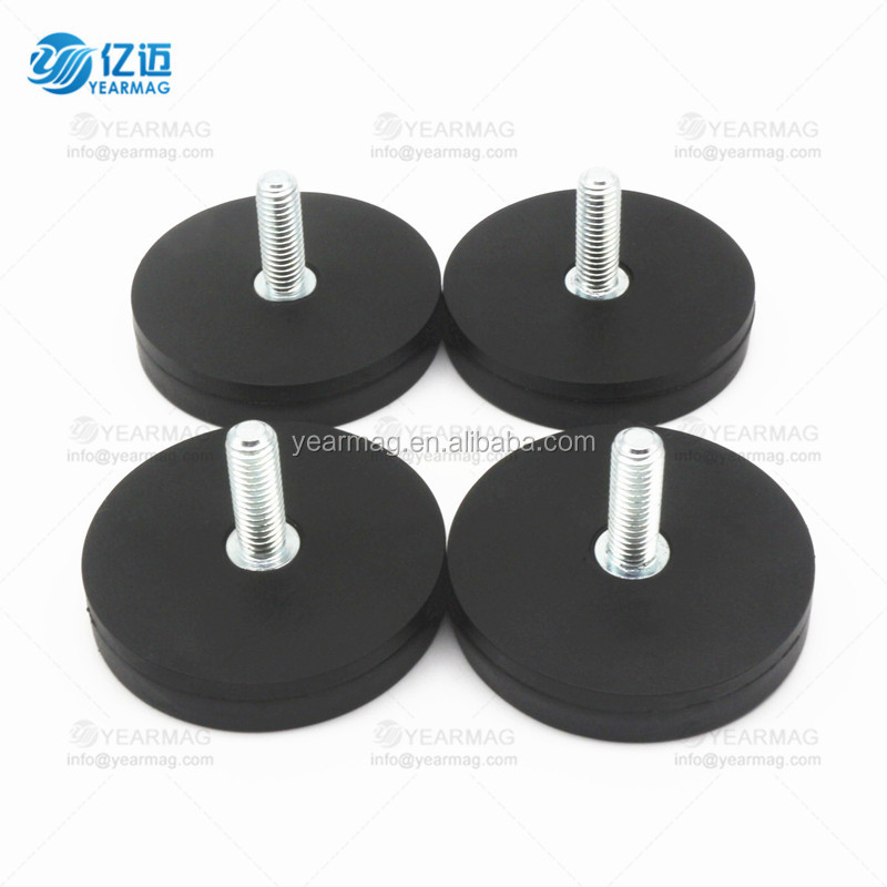 D36mm Neodymium Pot Magnet with Rubber Covering with External/ Internal Thread
