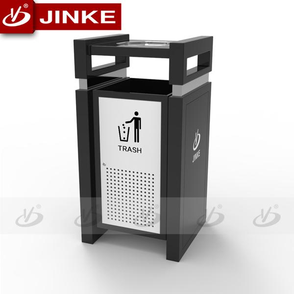 Two Barrels Sorting Waste Recycle Bin Sheet Metal Dustbin