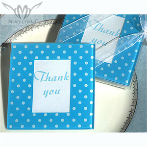 Glass Blue And White Dot Photo Coasters for Love Wedding Gifts