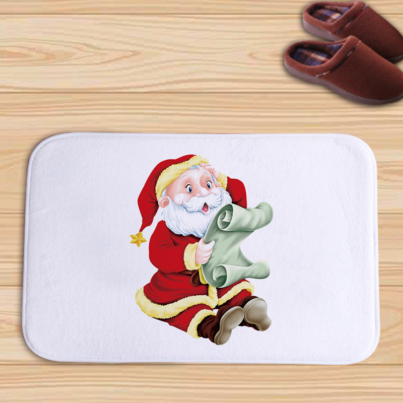 Pretty Glowing Christmas Tree and Wreaths Flannel Doormat New Design Floor Mat Tapete For Home