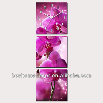 Orchid design pink flower framed set of 3 canvas wall clock