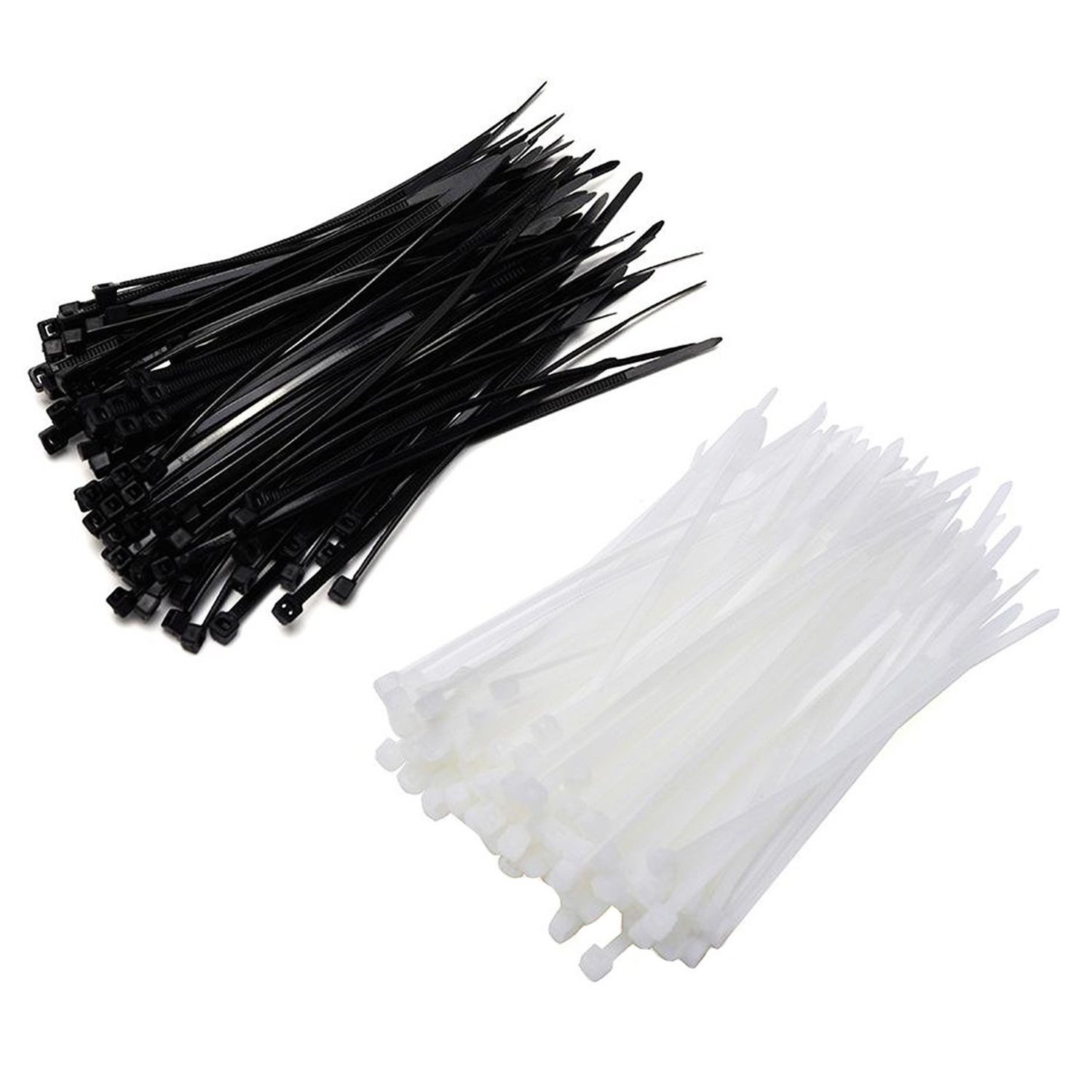 SODIAL(R) 6 Inch Nylon Cable Ties in Black and White, 200 Pieces