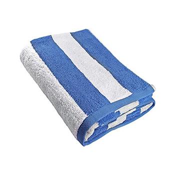 100 Cotton White And Blue Striped Bath