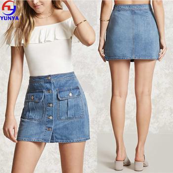5e0b5d0bb 2017 New Design Blue Buttons Center Front Short Jean Denim Skirt ...