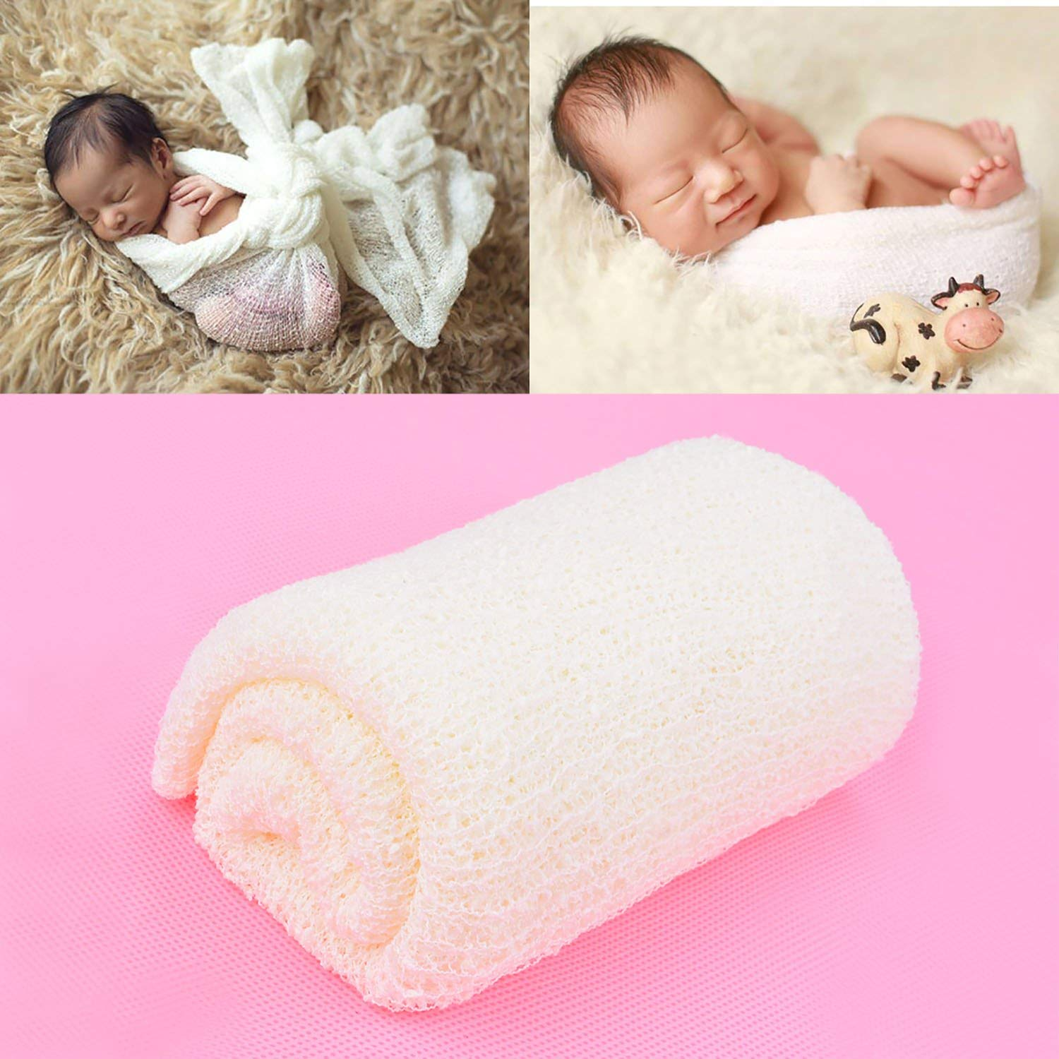 12133a912d5 Get Quotations · Aniwon 2Pcs Long Ripple Wrap Baby Photo Blanket Newborn  Photography Props Baby Shower Gifts