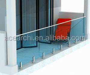 Balcony Frameless Glass Railing Design With Tinted Tempered Glass
