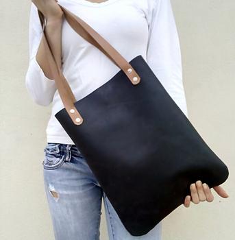 b57d70b488 Plain Black Leather Tote Bag Shoulder Bag For Lady - Buy Leather ...