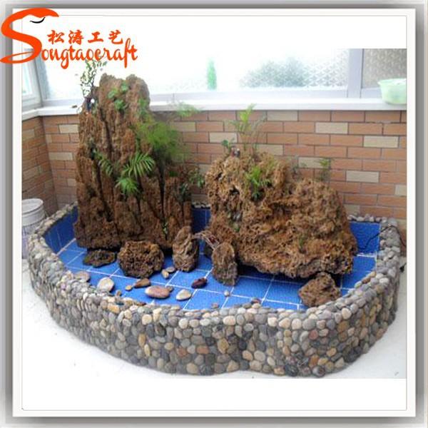 Indoor decor jard n estanque estanques de peces piedra for Estanque fibra de vidrio