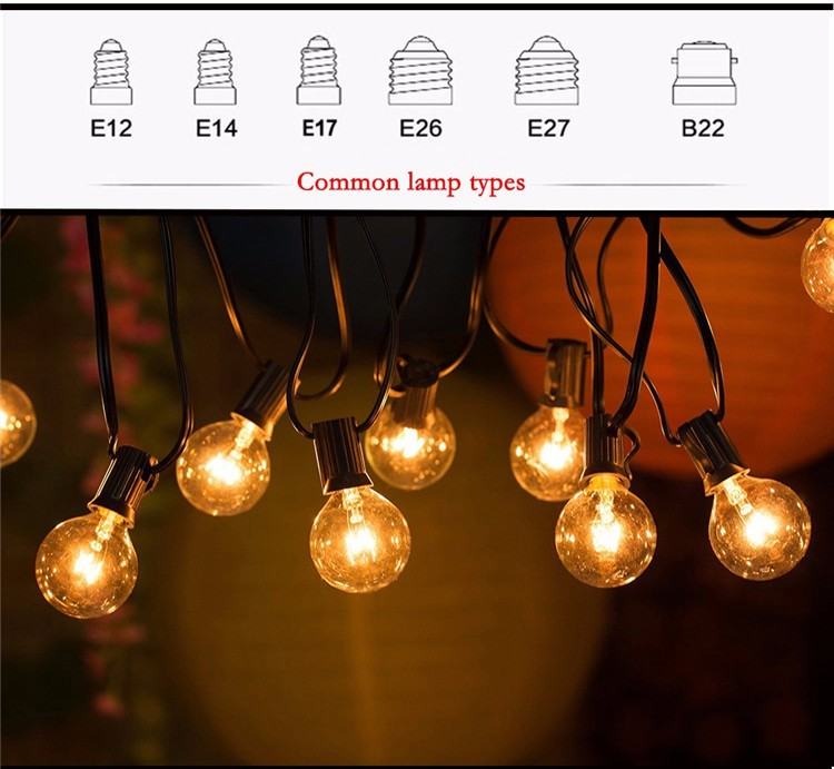25Ft Globe String Lights with 25 G40 Bulbs Vintage Patio Garden Light string for Decorative Christmas Party Lights