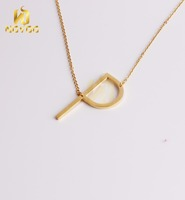 Custom Long Chain Necklace Jewelry 18k Gold Letter Pendant Necklace
