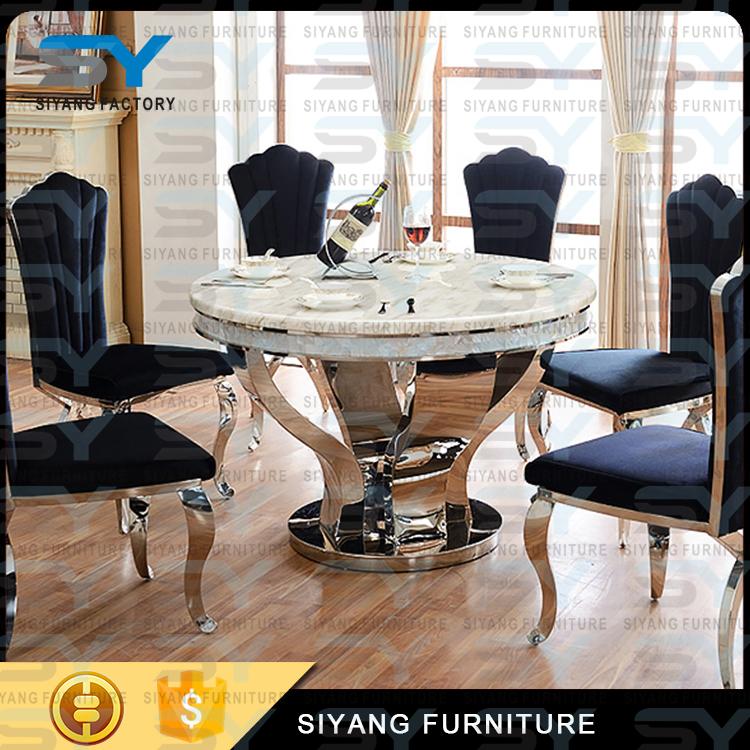 China India Import Furniture Luxury Modern Dining Set Rotating Table Ct022
