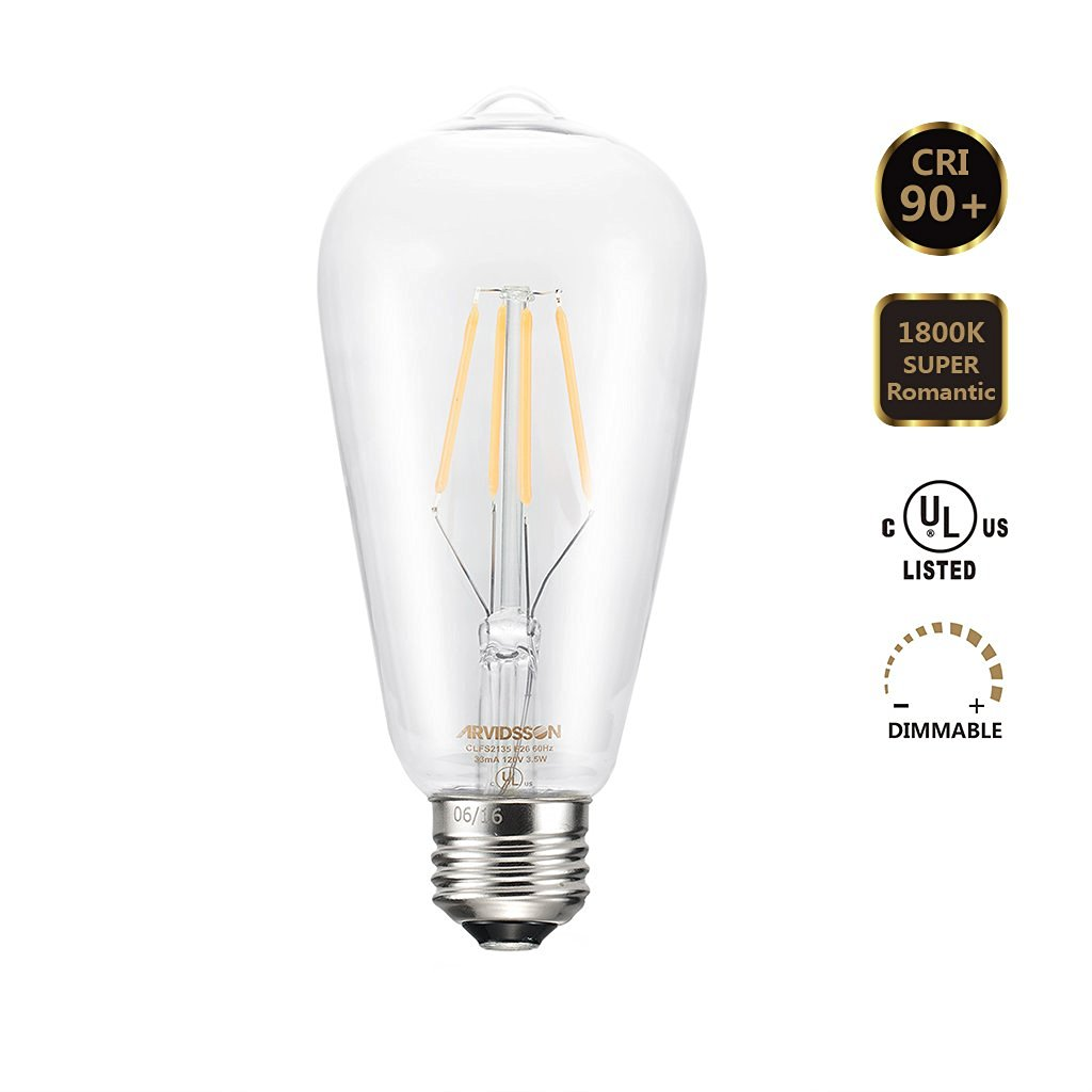 Arvidsson LED Vintage Edison [Sapphire] Filaments Bulb 4W 400Lumens [CRI90+] Dimmable [1800K Romantic Warm Glow] ST64/ST21 [Anti-Glare Clear Glass] UL Listed for Antique Lighting Fixtures
