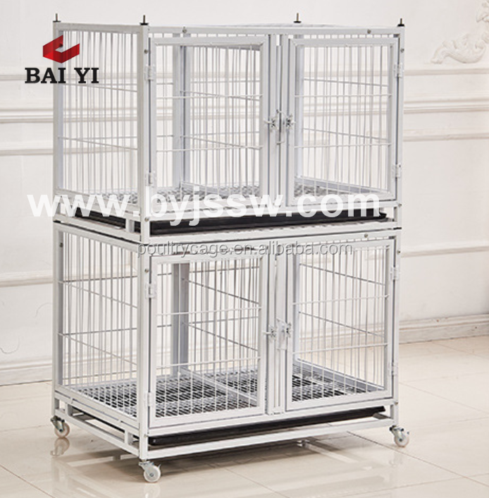 Wholesale Double Dog Cage With Wheels / Iron Steel Dog Kennel Hot Selling (Export To America)