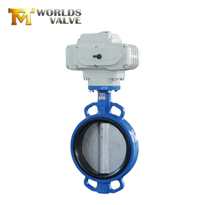 Tianjin worlds Solenoid actuated wafer type butterfly valve with motorized