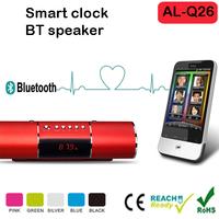 Mini HiFi Speaker AL-Q26 Bluetooth Dual Speakers Stereo with Mic FM Clock Alarm Hands-free TF card AUX LED Display