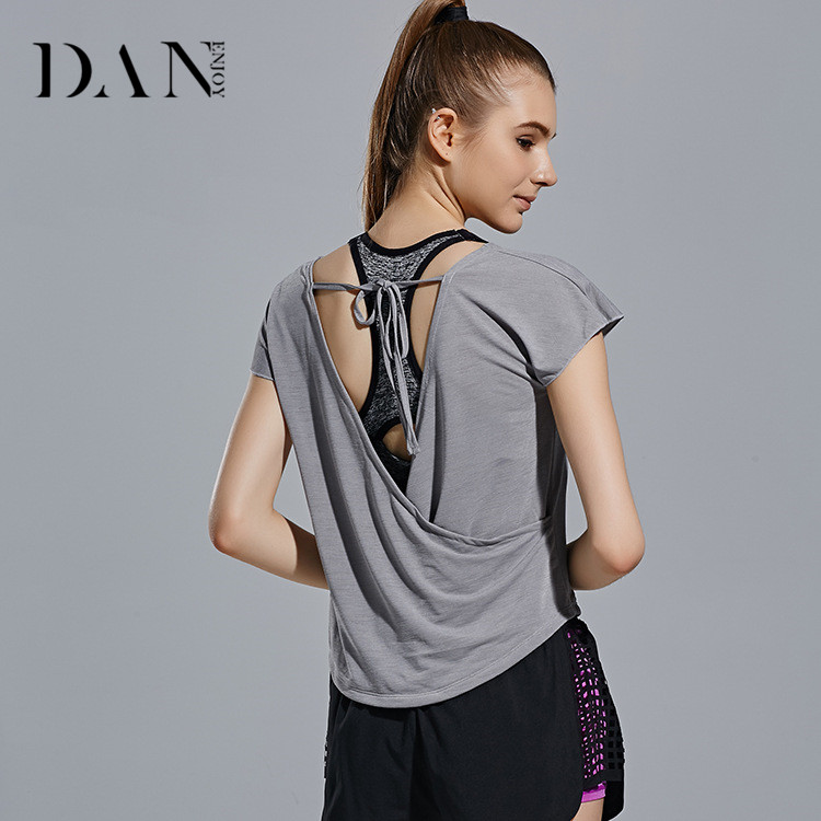 Summer New Fashion Ladies Breathable Gym Sports Running Fitness Tops Girls Quick Dry Short Sleeve Yoga T Shirt