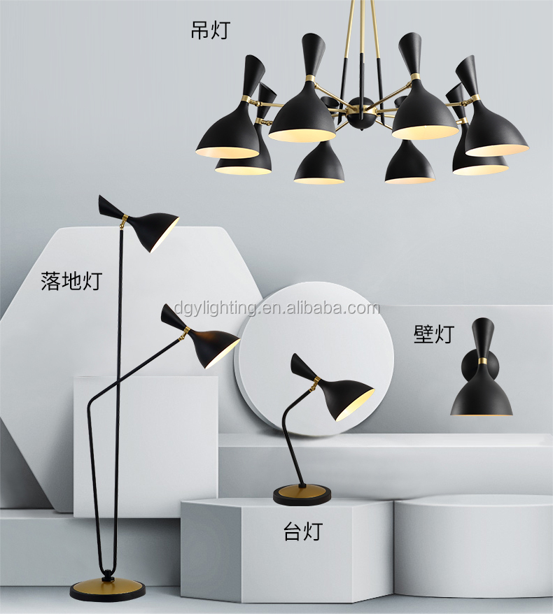 Malaysia new arrival black white E14 2 head standing  led adjustable height dimmable floor lamp