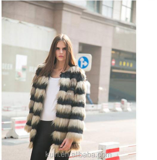 Black and White Contrast Color Goat Fur Garment/Long Hair Real Goat Fur Coat