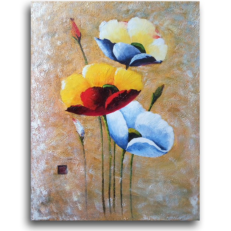 Hot sale simple knife painted large handmade beautiful flower painting for hotel beauty salon 100x130cm