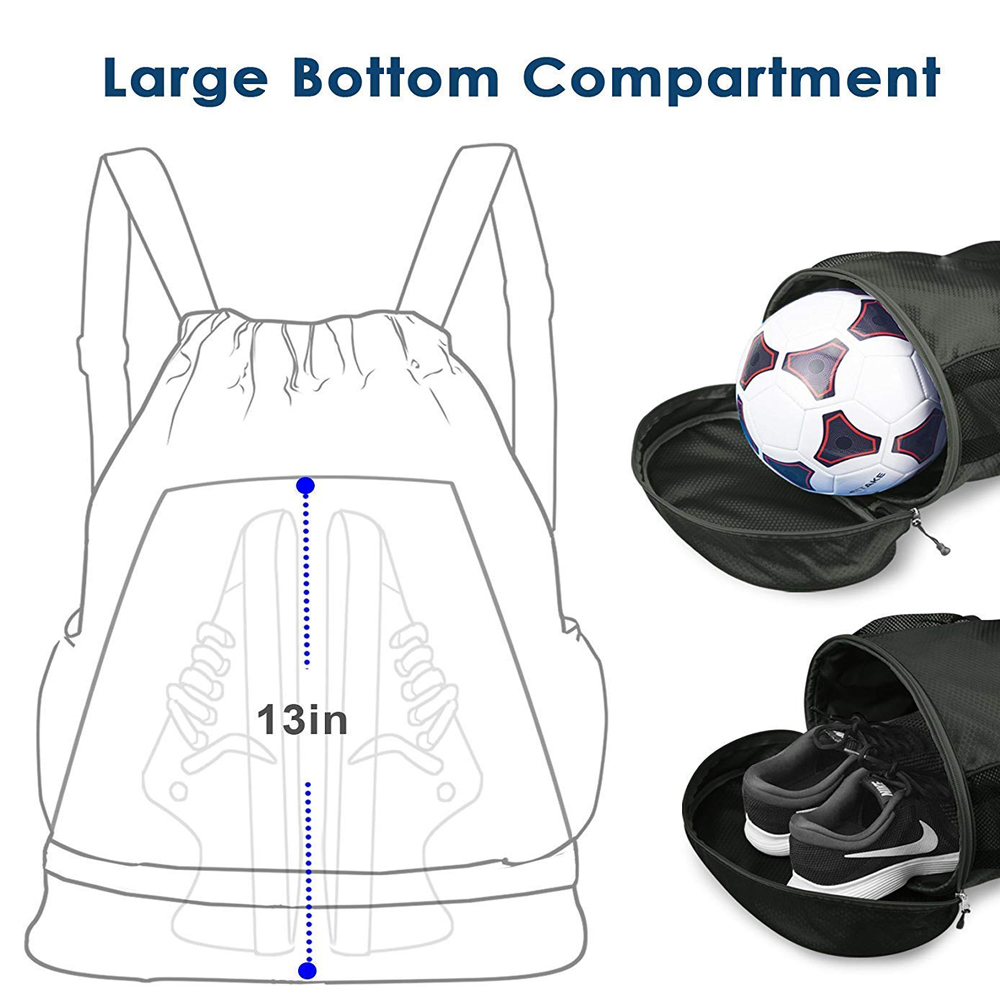 Drawstring Backpack, Gym Bag for Sports, swimming, beach, hiking, and fitness, with Shoes and laundry Compartments