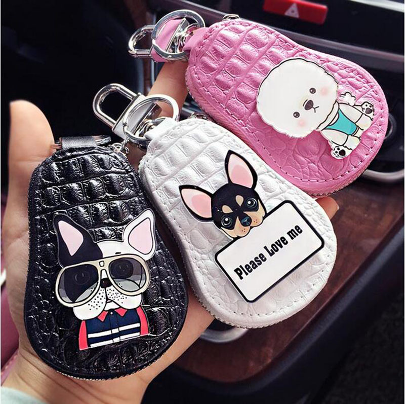 lovely dogs key chain Poodle Chihuahua bulldog car key packet Leather Keychain Women Keychain Covers Zipper Key Case Bag