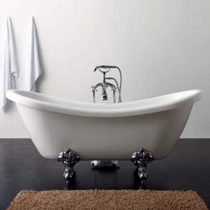 Acrylic Slipper Clawfoot Bathtub Package in White with White Imperial Feet and Chrome Deck Mount Faucet DM-810