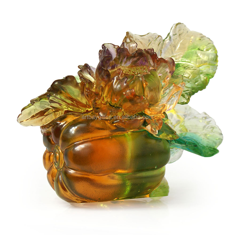 ARTBAY LIULI pate de verre decoration crystal glass craft pumpkin sculpture with peony