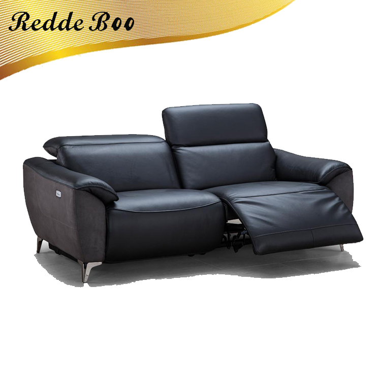 Burgundy Color Camilo Power Camel Genuine Leather Furniture For Sofa With  Recliner