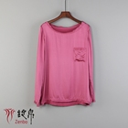 In Stock 16mm Silk Satin Stretched Casual Round Neck Long Sleeve blouse for lady