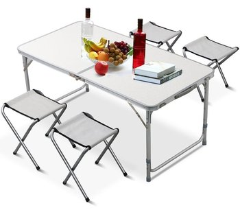 Tianye Outdoor Height Adjustable Folding Table with 4 Folding Chairs, Portable Camping Picnic Party Dining Table