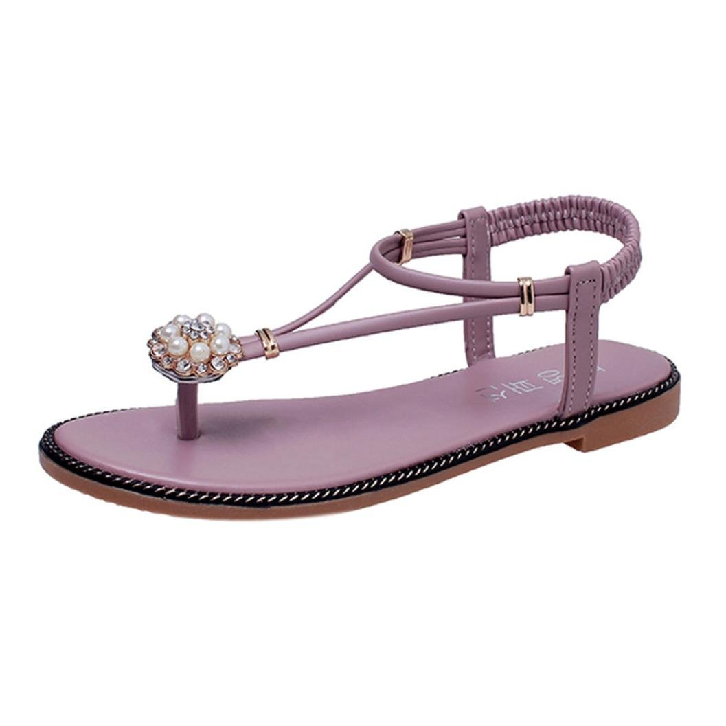 8761f6a86f74ff Get Quotations · SHY Women Peep Toe Sandal Elastic Flat-Bottomed Roman Tie  up Dress Sandals Flip-