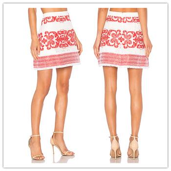 107aa20ca2 Las chicas calientes apretado Falda corta fotos de chicas Sexy con bordado  Hawaiano Micro Mini falda