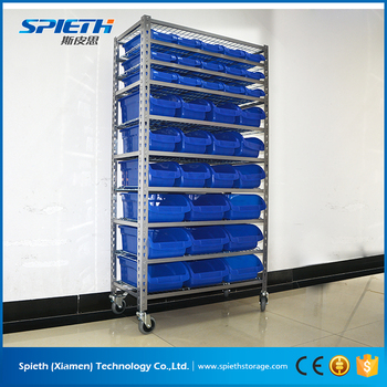 Warehouse Factory Spare Parts Storage Rack With Bins Plastic Storage Bin  Rack