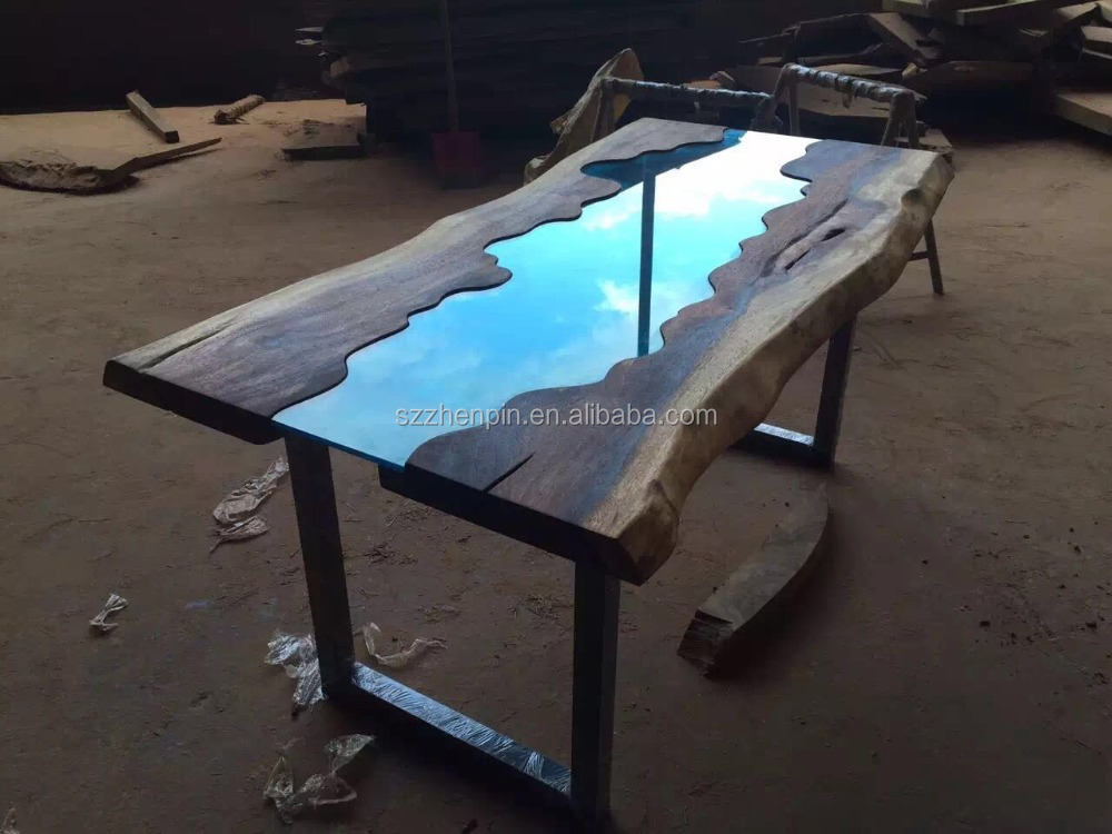 Live Edge Glass Inlay Solid Wood Slab Dining Table