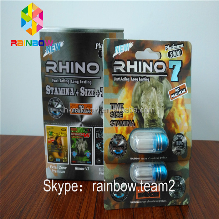 3D Rhino 7 / Rhino 69 PremierZen Paper Card with Bottle and Cover/ Male Enhancement Sex Pill Blister Paper Card Packaging