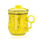 Yellow Marigold Ceramic 300ml Tea Mug Cup With Insert Strainer/Infuser Filter & Lid