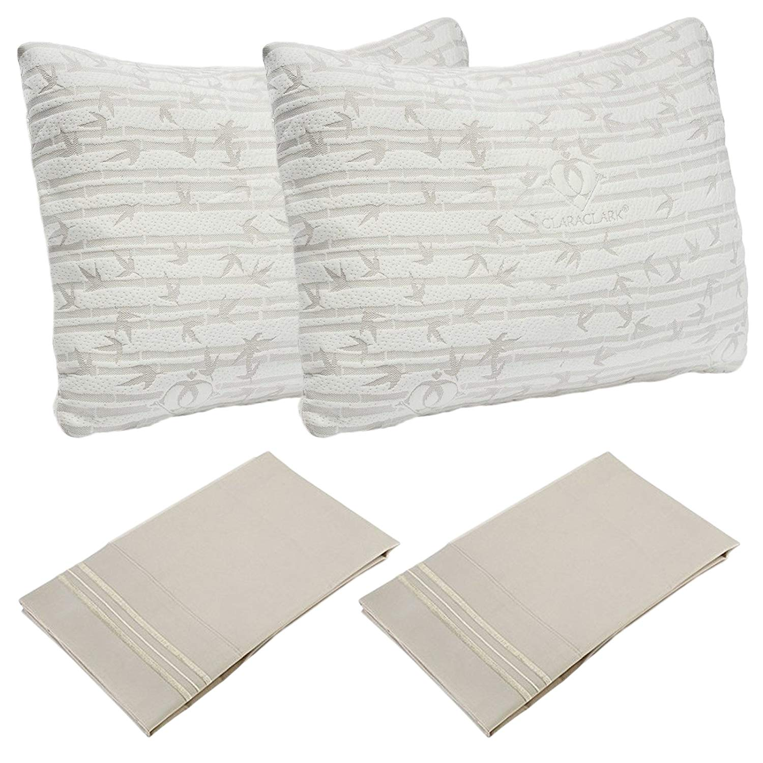 Set of 2 Premium Soft Bamboo Rayon Shredded Memory Foam Pillow, With 2 Bonus Cream Pillowcases - Hypoallergenic Comfort Pillow, Breathable Comfortable Supportive Design, Enhance Your Sleep, Queen Size