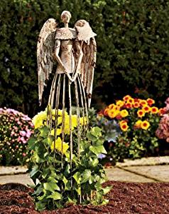 Y&K Decor Antiqued Metal Garden Angel Statues 25.5 height