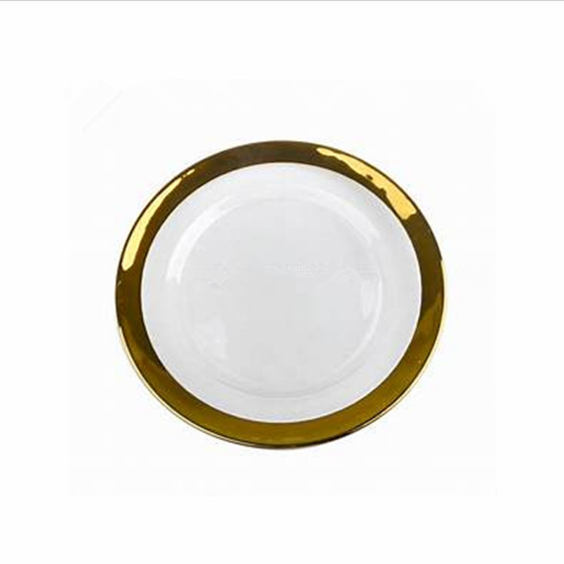 Hot Colored Round Decorative gold glass dinner charger plate