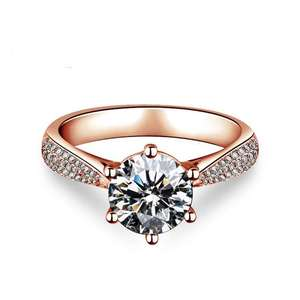 18k Rose Gold Plated 1.5ct Heart Arrows Cut Cubic Zirconia Solitaire Wedding Engagement Rings