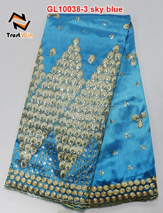 george wrappers skyblue with gold indian fabric sequins top selling george lace GL10038