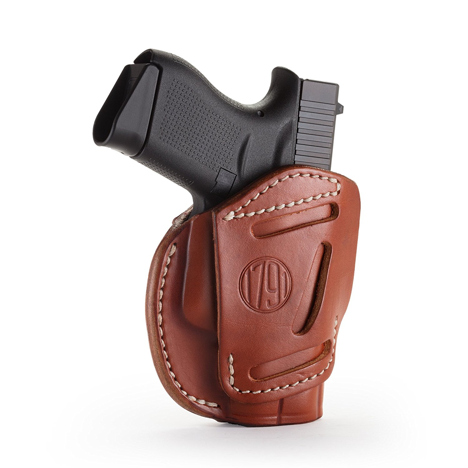 1791 GunLeather 3-WAY Glock 43 Holster - OWB CCW Holster Ambidextrous - Right & Left Handed Leather Gun Holster - Fits Glock 43, Glock 42, Kahr CW380 and S&W Bodyguard (3WAY SIZE 2)
