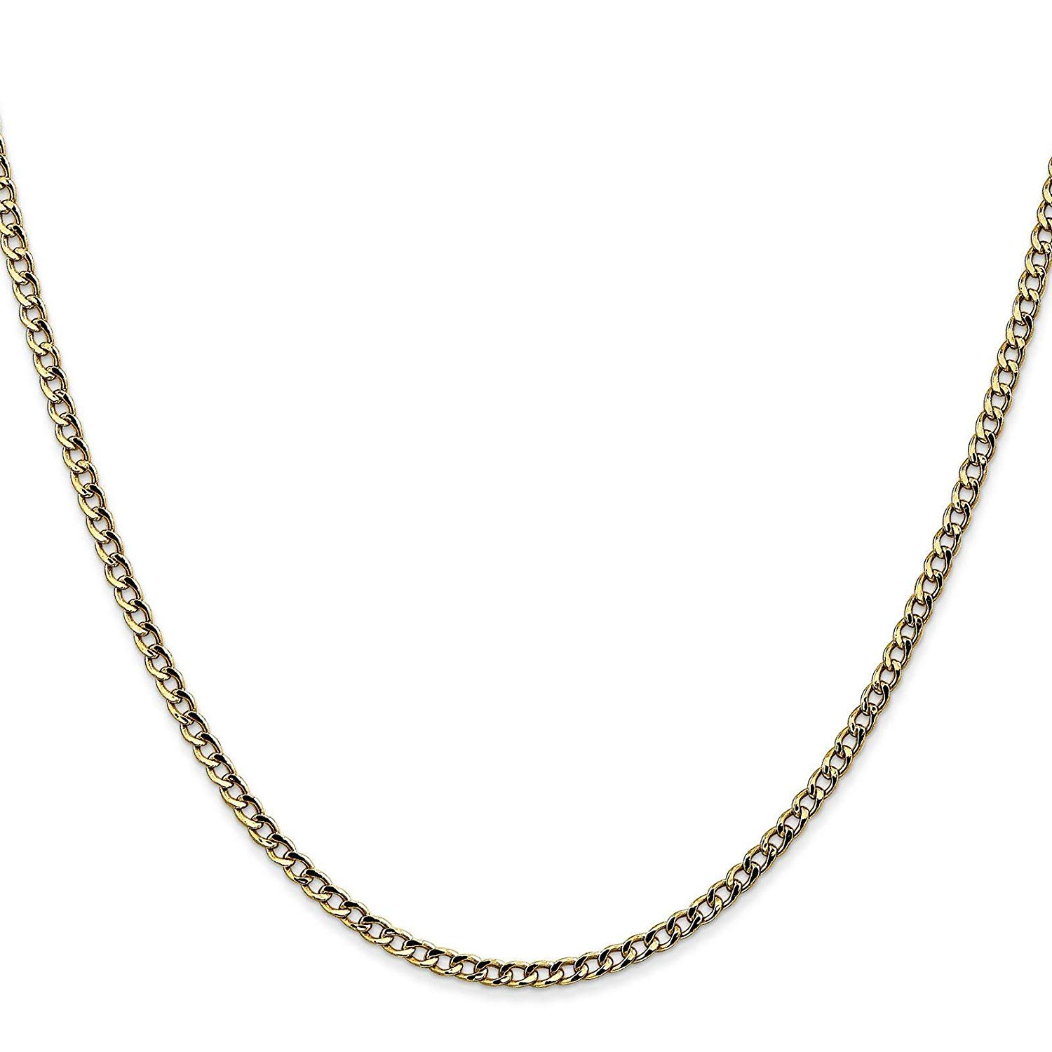 "14k Yellow Gold 2.5mm Semi-Solid Polished Curb Link Chain Necklace Bracelet Anklet 7"" - 24"""