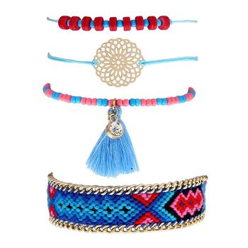 Vogue Multi Strands Glass Seed Beads Bracelet Set for Wholesale Costume Jewelry