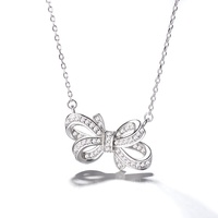 Hot Sale Pure 925 Sterling Silver Jewelry Zircon Stone Bow Necklace