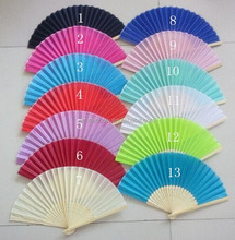 cheap silk hand fan with bamboo handle